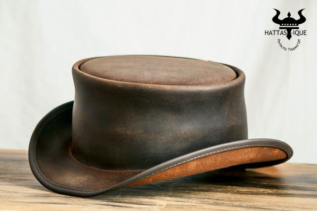 ... Marlow Brown Leather Top Hat Side View ... dac505eabf17