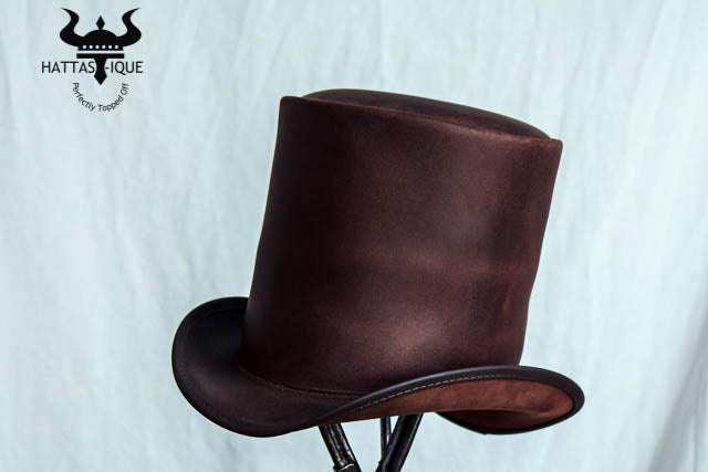 Stove Piper Brown Leather Top Hat