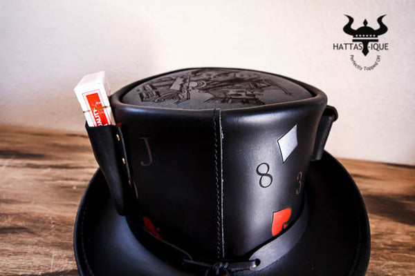 pokerface top hat with playing cards and poker chips