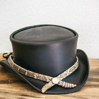 American Hat Makers rattlesnake hat band on Marlow top hat