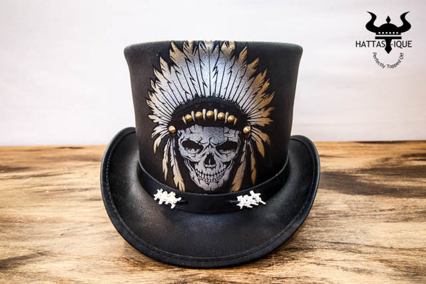 black ritual top hat front view