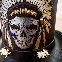 black ritual top hat close up skull with headdress