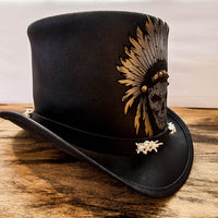 black ritual top hat side view