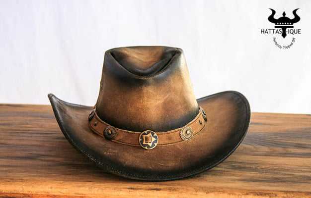 rustic brown leather cowboy hat