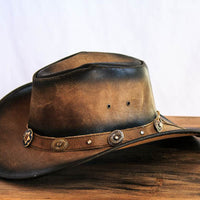 rustic brown leather cowboy hat side view