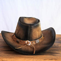 rustic brown leather cowboy hat back view