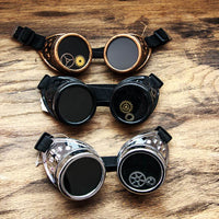 Simple Steampunk Goggles Black Silver Copper