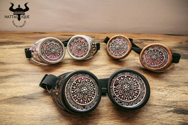 Steampunk Goggles Intricate Lens Black Copper Silver