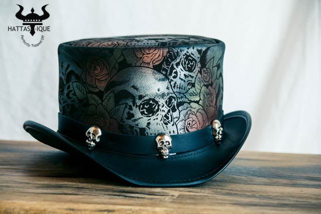Skull and Roses Leather Top Hat Front View