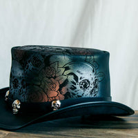 Skull and Roses Leather Top Hat Side View