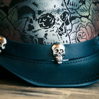 Skull and Roses Leather Top Hat Skull Hat Band View