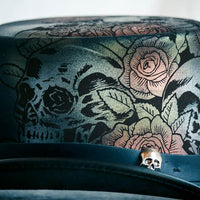 Skull and Roses Leather Top Hat Up Close Skull and Rose View