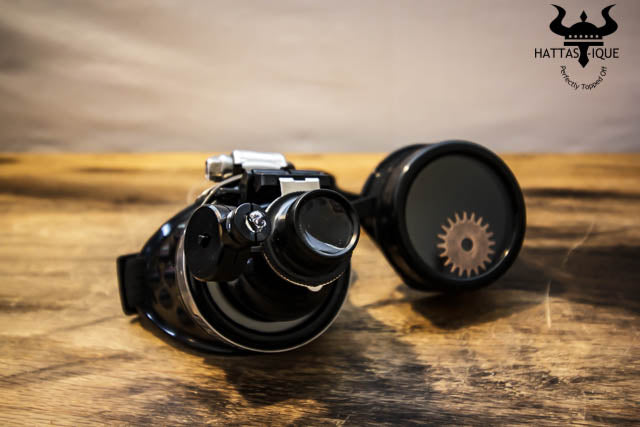 Black Steampunk Goggles LED Light Magnifier