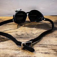 Black Steampunk Goggles LED Light Leather Strap Back View