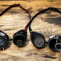 Steampunk Black Goggles Monocles Leather Straps