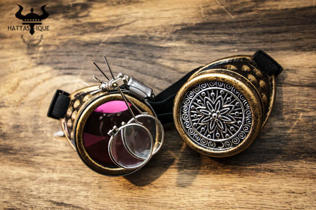 Steampunk Copper Goggles Monocles Adjustable Strap