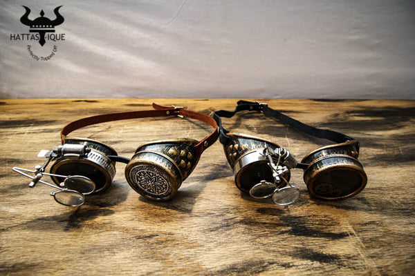 Two Steampunk Copper Goggles Monocles Leather Straps