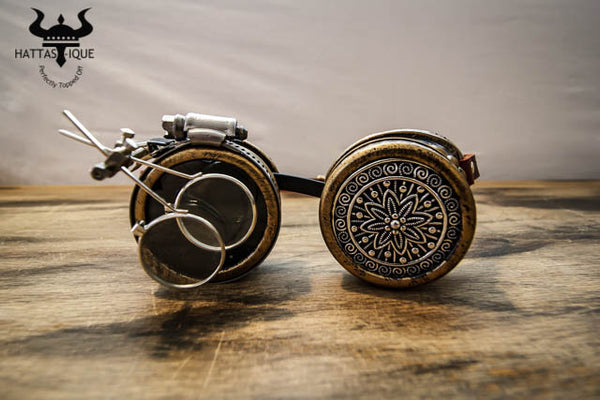 Steampunk Copper Goggles Monocles Leather Straps