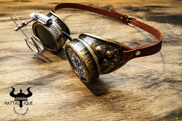Steampunk Copper Goggles Monocles Leather Straps Side View