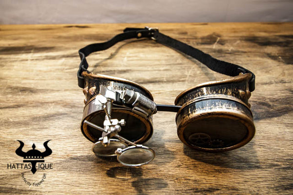 Steampunk Copper Goggles Monocles Leather Straps Top View