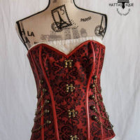 red steampunk corset