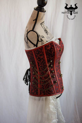 red steampunk corset side view