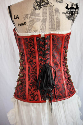 red steampunk corset back view