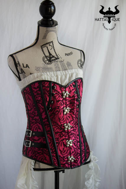 pink and black steampunk corset