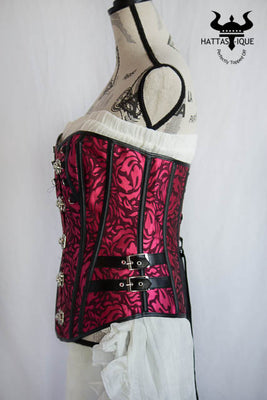 pink and black steampunk corset side view