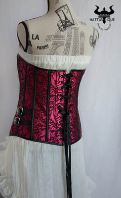 pink and black steampunk corset back view