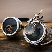 Steampunk Silver Goggles Magnifier Gears Adjustable Strap
