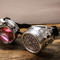 Steampunk Silver Goggles Magnifier Adjustable Strap