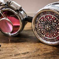 Steampunk Silver Goggles Magnifier Flower Lens Adjustable Strap