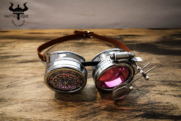 Steampunk Silver Goggles Monocles Leather Straps
