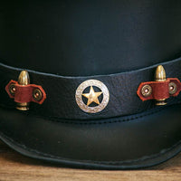 close up view on the sheriff's hatband on the marlow top hat