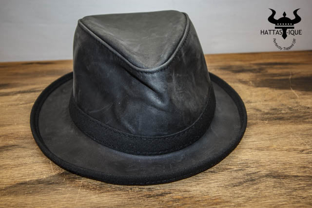 Black Fedora Leather Front View