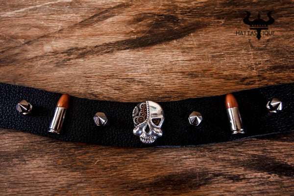gear head hatband with skull, bullets, and spikes