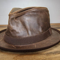 Brown Leather Fedora Side View