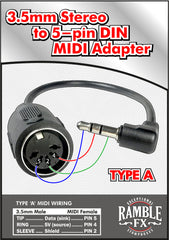 MIDI to 3.5 mm TRS adapter -- TYPE A