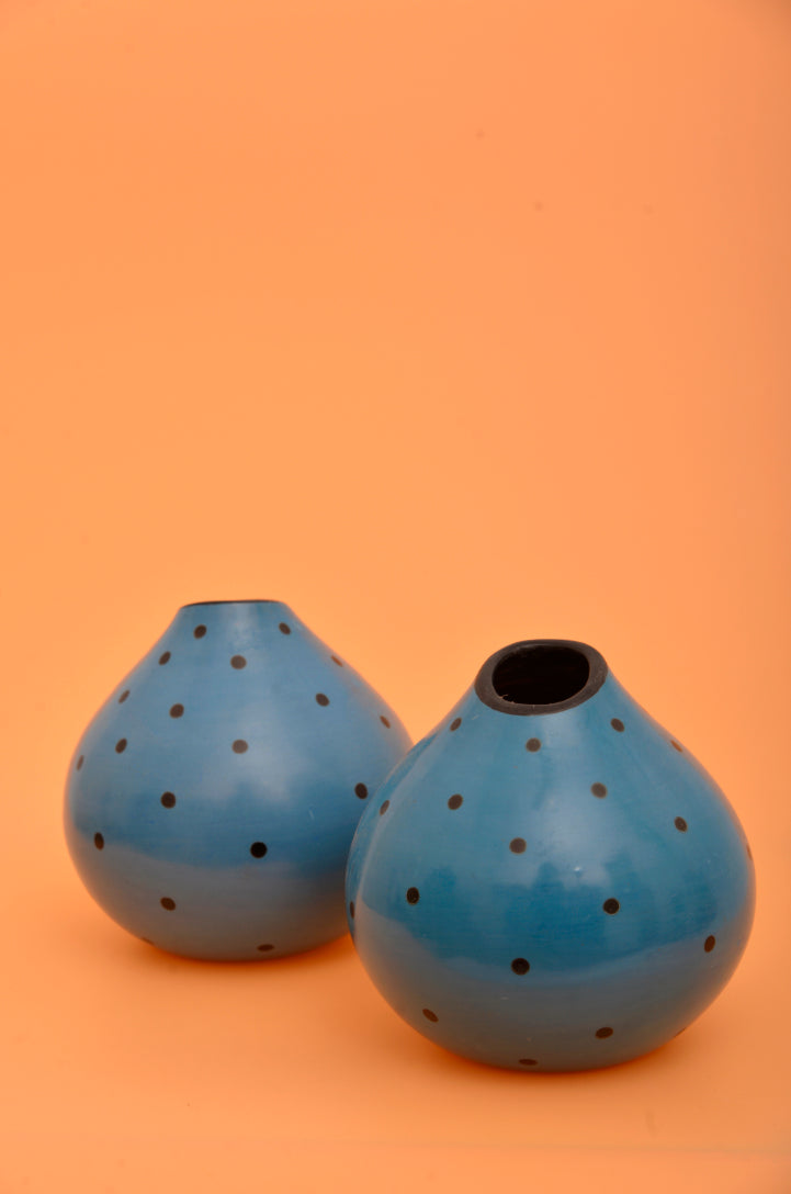Cerulean Polka Dot Vase Set By Genaro Paz - Mercado32