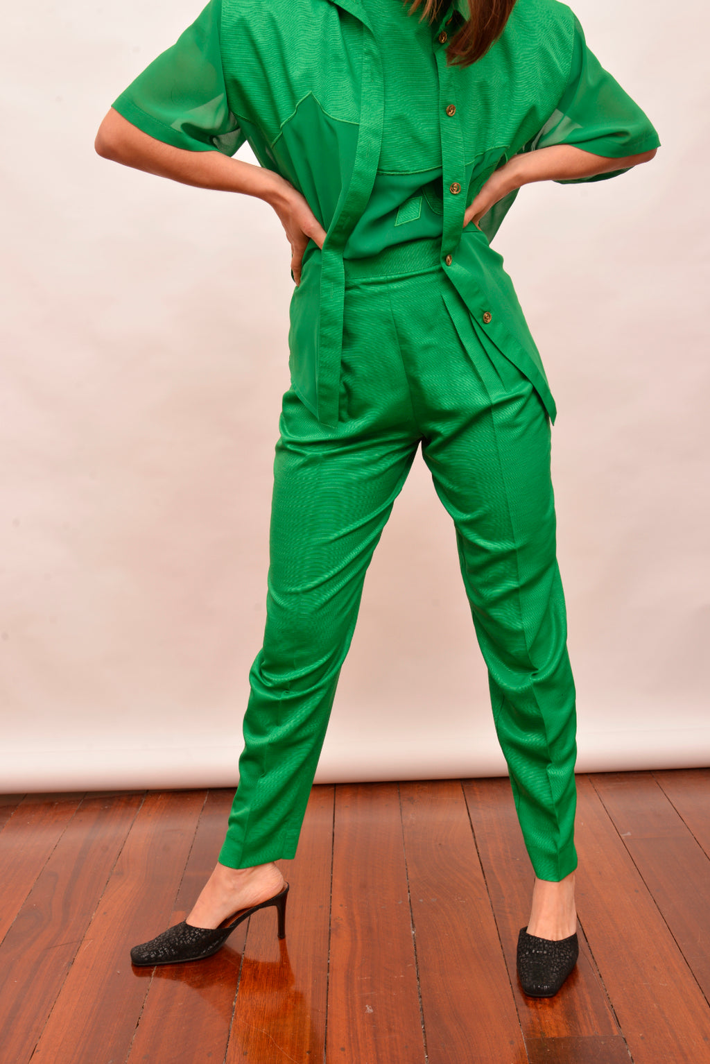 Vintage Green High Waisted Pants (S) - Mercado32