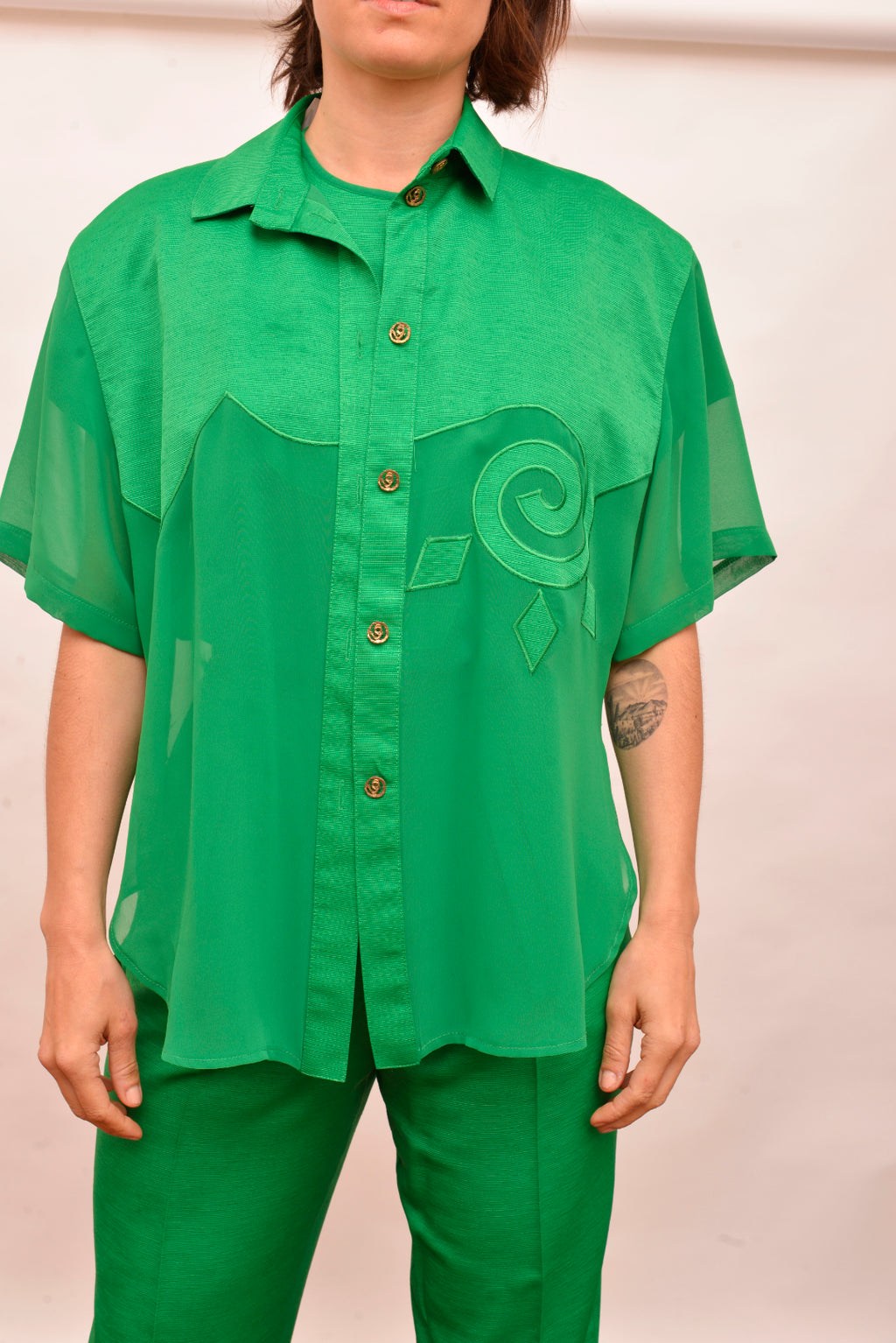 Vintage Green Patterned Shirt (M/L) - Mercado32