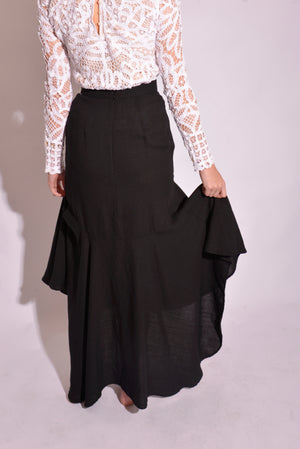 Isla Black High Waisted Maxi Skirt (S) - Mercado32