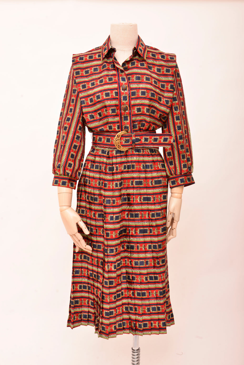 Vintage Lady Carol Printed Dress With Belt (S/M) - Mercado32