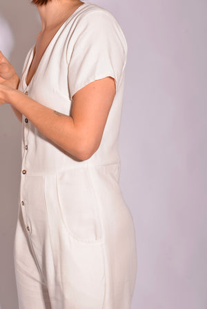 Tasi Travels White Jumpsuit (S/M) - Mercado32