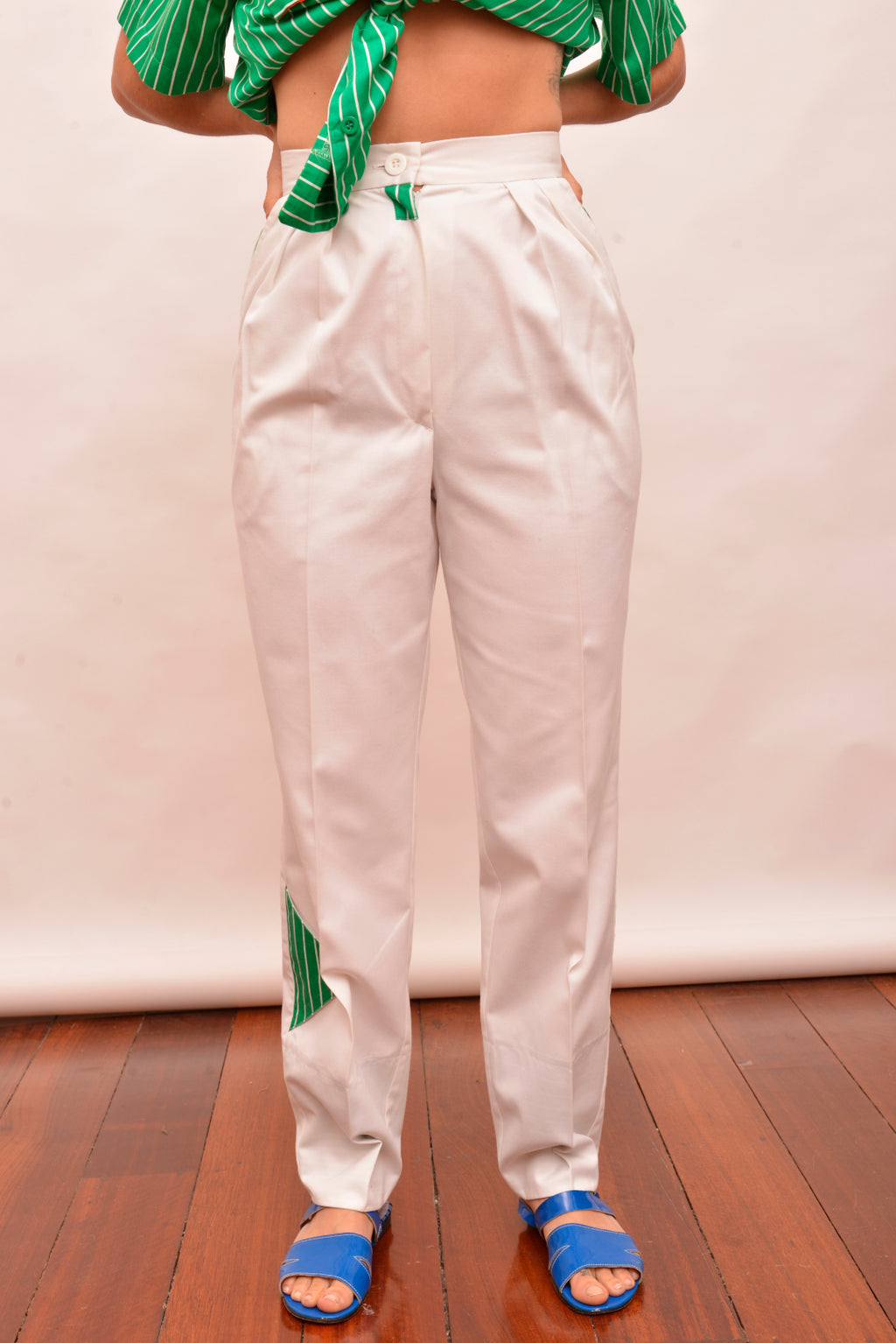 Vintage Walter Kristensen White High Waisted Pants (S) - Mercado32