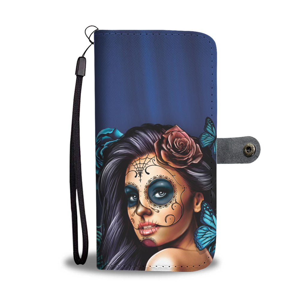 Calavera Girl (Sugar Skull) Turquoises Phone Wallet Case