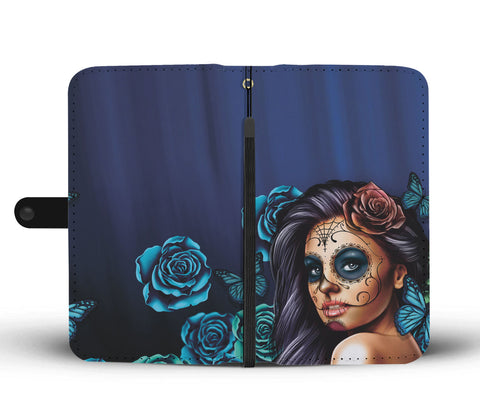 Image of Calavera Girl (Sugar Skull) Turquoises Phone Wallet Case