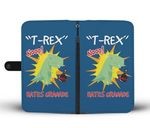 Image of T-Rex Hates Grenades Phone Wallet Case