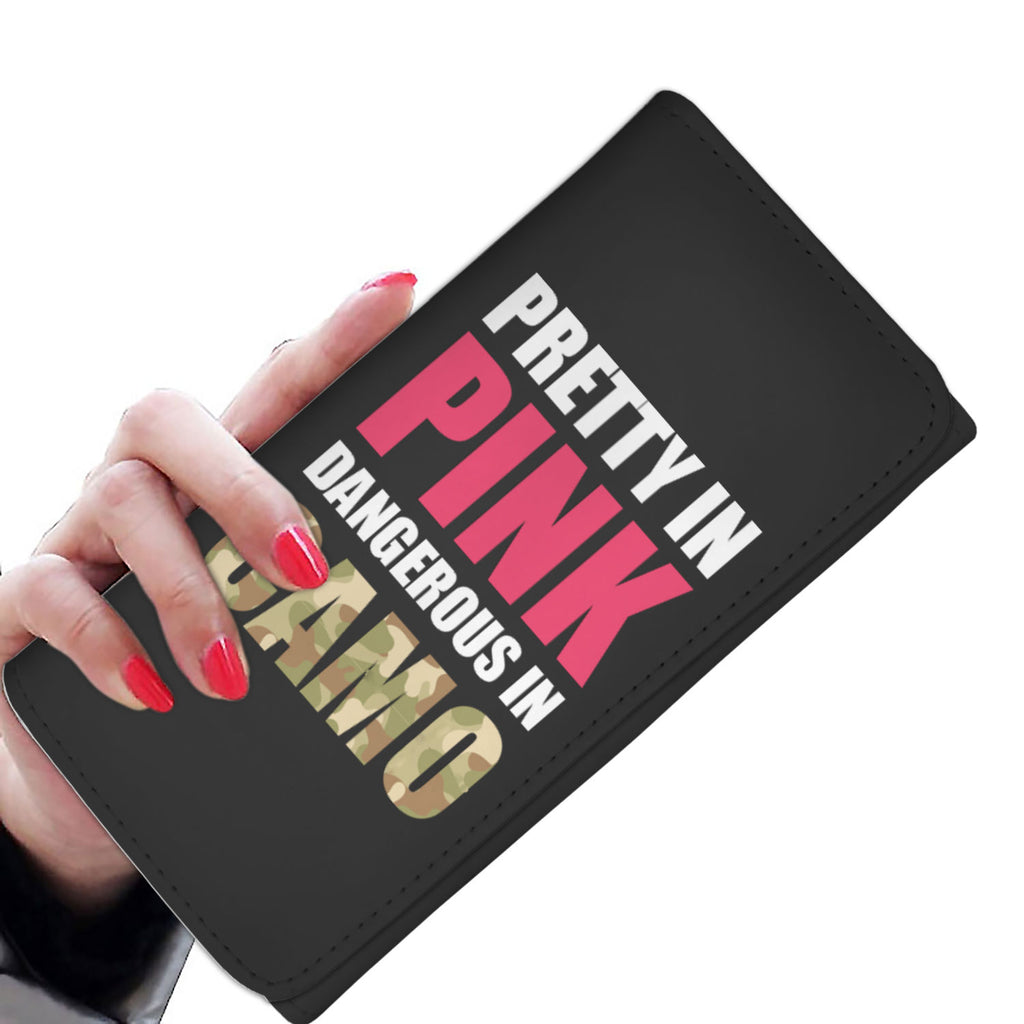 Pretty In Pink Dangerous in Camo Womens Wallet
